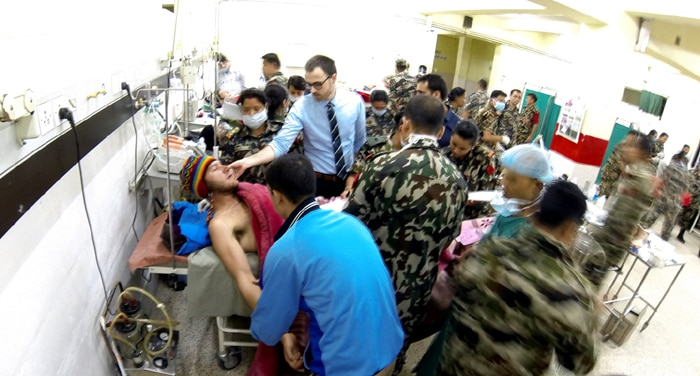 Photo of (English) Rescued trekker getting treatment at hospital