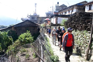 In this image taken a week ago, foreign tourists are seen walking across the Aannapurna region. Image source: