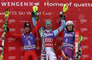Il podio dello slalom maschile di Wengen: da sinistra a destra Stefano Gross, secondo, Felix Neureuther, primo, e Henrik Kristoffersen, terzo (Photo courtesy of Fisi)