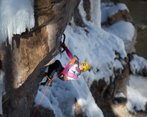 Photo of Angelika Rainer all'Annual Ouray Ice Festival, il suo racconto della gara