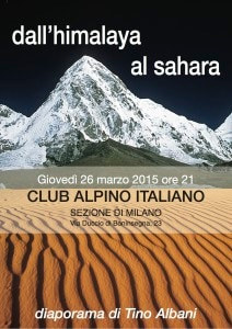 Photo of Dall'Himalaya al Sahara, una serata con Tino Albani al Cai Milano