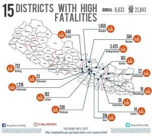 La mappa del terremoto (immagine nepalpolice.gov.np)