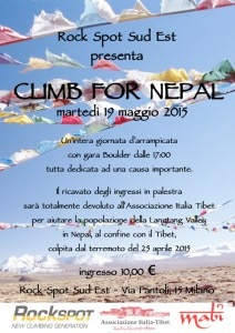 Climb for Nepal: la locandina dell'evento