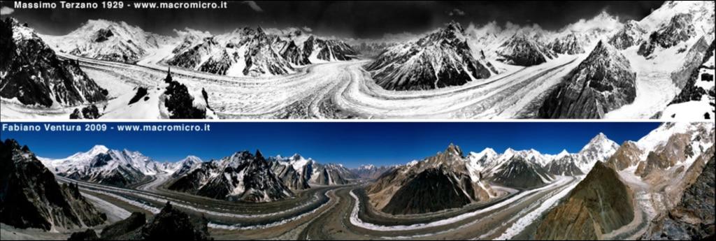 Foto comparativa del ghiacciaio del Baltoro, sopra Concordia. La prima scattata nel 1929, la seconda durante la spedizione del 2009. Photo micromacro - Fabiano Ventura
