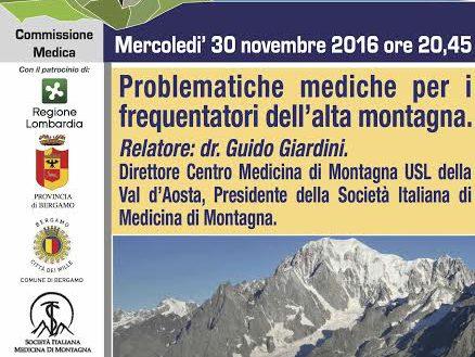 """Photo of Una serata a Bergamo sulle """"Problematiche mediche per i frequentatori dell'alta montagna"""""""