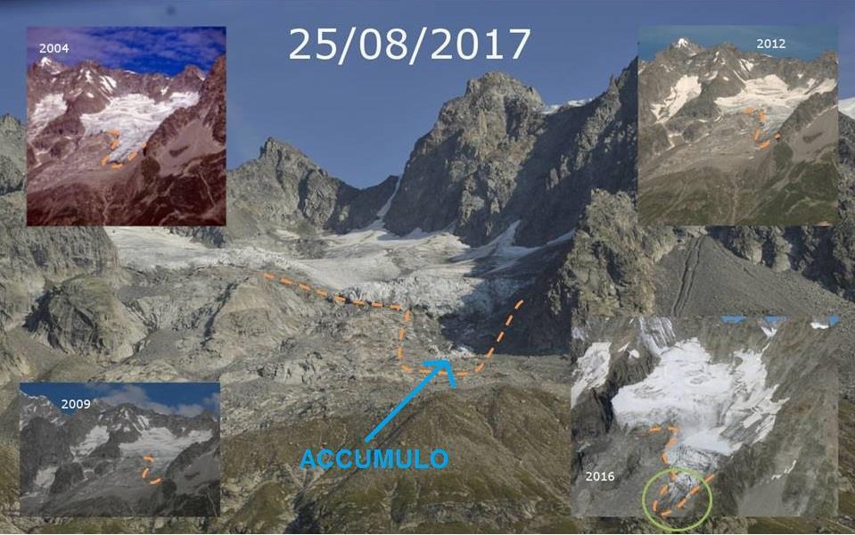 """Photo of Monte Bianco, il caldo fa crollare la """"lingua"""" del ghiacciaio del Toula"""