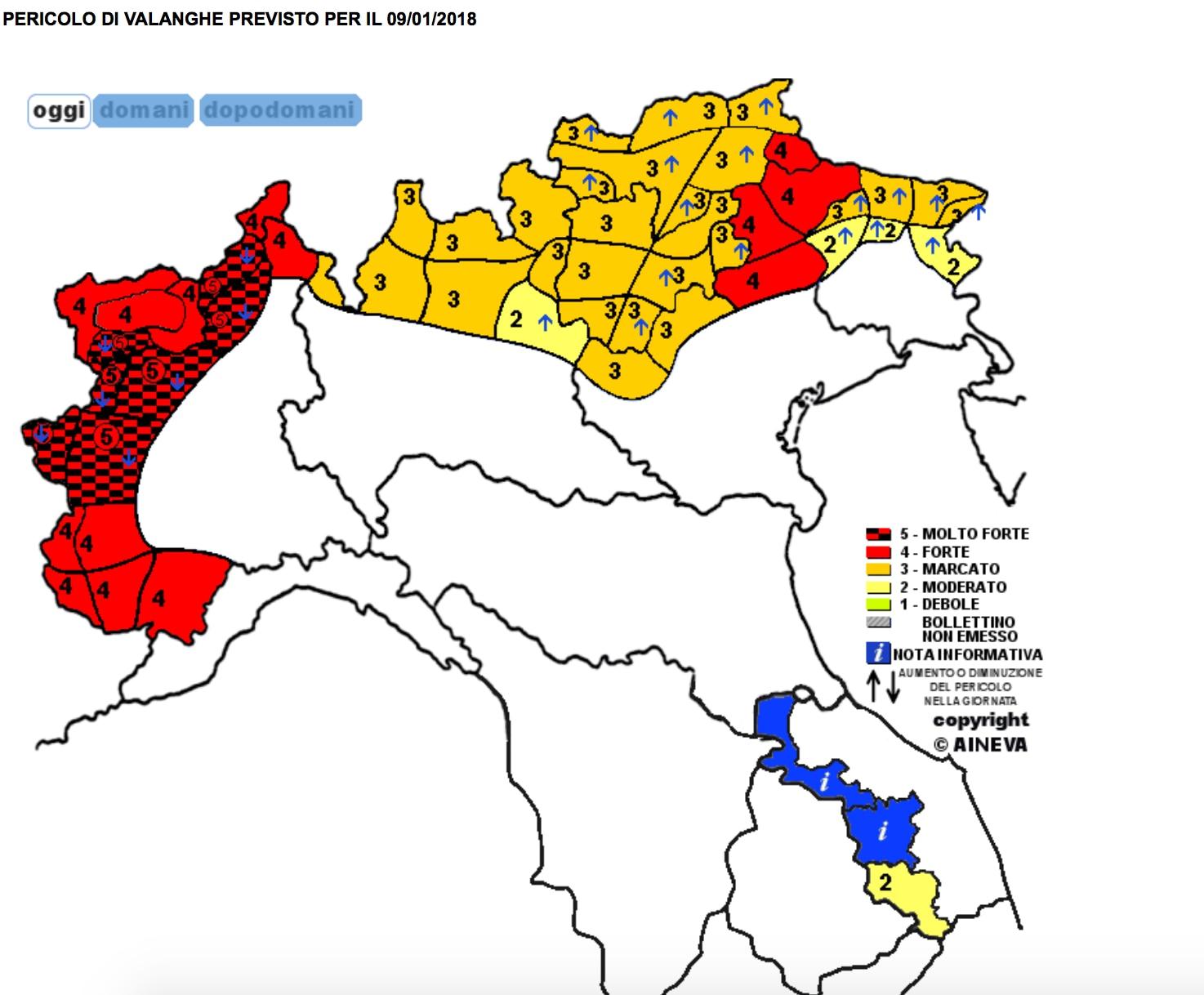 Photo of Pericolo valanghe massimo (5) su Piemonte e Valle d'Aosta