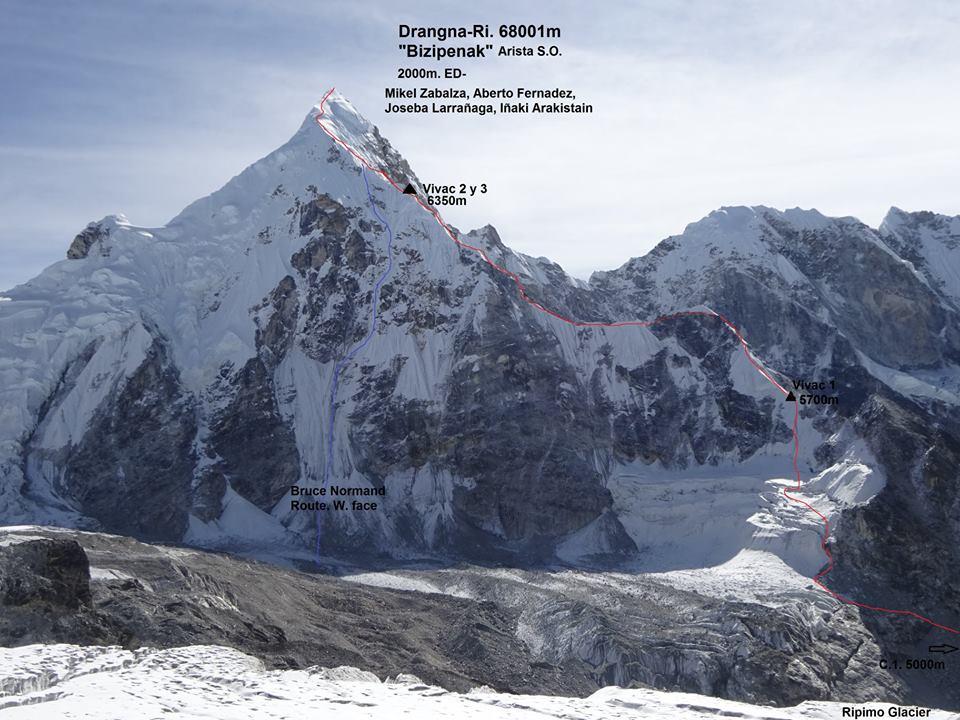 Drangna-Ri, Himalaya, Nepal, prima ascensione, alpinismo, cresta Sud Ovest, Mikel Zabalza, Alberto Fernandez, Iñaki Araquistain, Joseba Larrañag