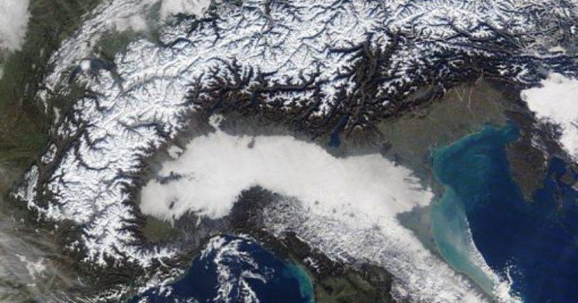 NASA, satelliti, neve, Italia, Alpi, Appennino