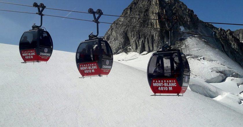 telecabine panoramic Mont Blanc, Auguille du Midi, Punta Helbronner, Monte Bianco, tempesta Eleaonor, funivia