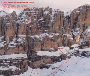 La linea di discesa tracciata da Luca Dallavalle e Roberto Dallavalle sulla Sud di Cima Mandron