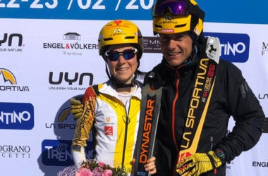 Axelle Gachet-Mollaret e Michele Boscacci vincitori dell'Epic Ski Tour. Foto Epic Ski Tour