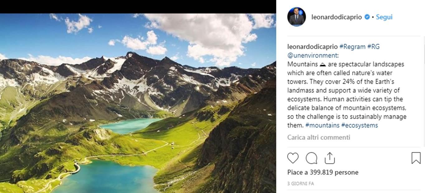 Photo of Il Gran Paradiso in un post Instagram di Leonardo Di Caprio. Il Parco risponde con un invito