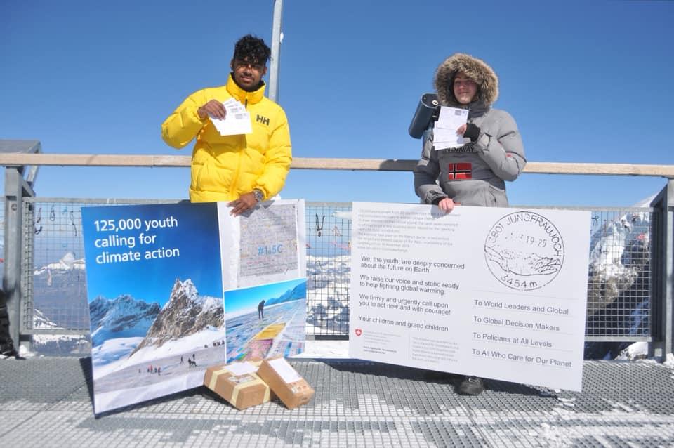 ghiacciaio Aletsch, Jungfraujoch , svizzera, climate change, cambiamento climatico, giovani, protesta, postcard