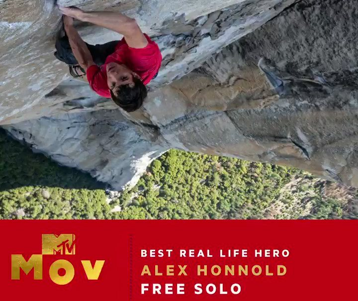 alex honnold, mtv movie & tv awards, finale, free solo, best hero