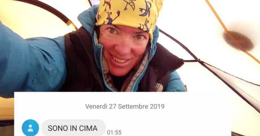 Il messaggio di Cristina Piolini dalla vetta.