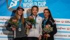 Podio femminile a Kranj  - Coppa del Mondo Lead 2019: 1. Chaehyun Seo; 2. Jessica Pilz; 3. Lucka Rakovec - Foto FB @International Federation of Sport Climbing (IFSC)