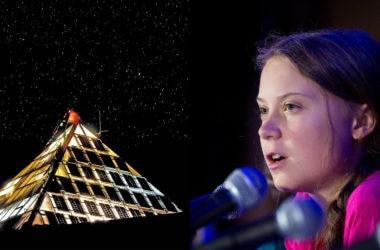 A sinistra il Laboratorio Piramide dell'Everest, a destra Greta Thunberg alle Nazioni Unite