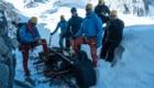 Durante la pulizia del ghiacciaio Grand Flambeau. Foto @ Luca Rolli