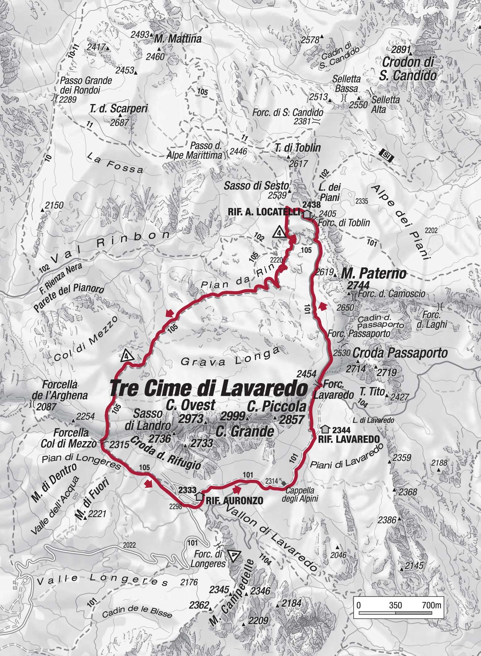 Cartina 3 Cime Di Lavaredo.Il Periplo Delle Tre Cime Itinerario Tre Cime Di Lavaredo Montagna Tv