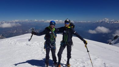 Photo of Filip Babicz e Denis Trento in velocità sul Pilone Centrale del Freney